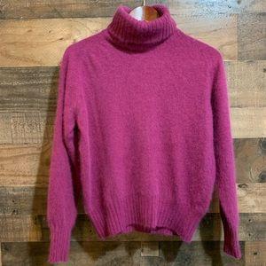 Vintage Fuschia Pink Angora Turtleneck Sweater